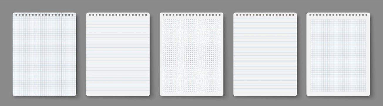 Clean spiral notepad blank mockup template. Realistic notebooks lined and dots paper page isolated on transparent background.