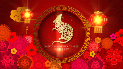 Chinese New Year - Year Of The Rat 2020 also known as the Spring Festival. Digital particles background with Chinese ornament and decorations for seasonal greeting video background