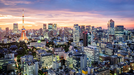 Fototapete - Cityscape of Tokyo skyline, panorama aerial skyscrapers view of office building and downtown in Tokyo in the evening. Japan, Asia.
