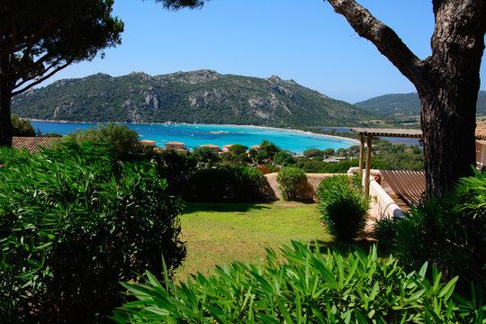 view of santa giulia bay in corsica island