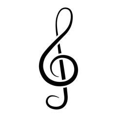 Treble clef icon. Musical Note. Vector illustration