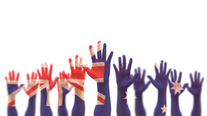 Australia day, Australian democratic election vote concept with national flag on people open palm hands raising in the air isolated on white background