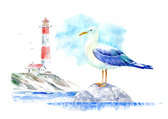 Landscape of a lighthouse and seagull on a stone.Marine picture.Watercolor hand drawn illustration.White background.