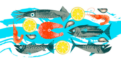 Seafood. Fish. Colorful vector illustration, a collection of images of different fish and shrimp with a unique hand drawn vector texture.