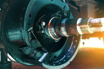 closeup brake pads repairing of a truck