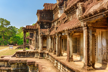 Wall Mural - Side entrances to ancient temple complex Angkor Wat. Cambodia