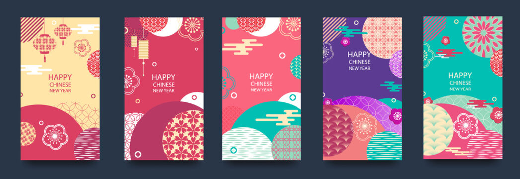 Happy new year.2020 Chinese New Year Greeting Card, poster, flyer or invitation design with Paper cut Sakura Flowers.