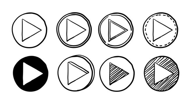 collection of Player Button icon sign with handdrawn doodle style vector