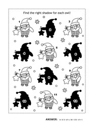 Visual puzzle or picture riddle with christmas owls holding star ornament: Can you find the shadow for each picture? Answer included.