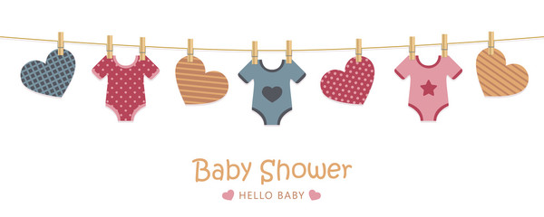 baby shower welcome greeting card for childbirth with hanging hearts and bodysuits vector illustration EPS10