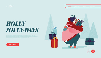 Winter Holidays Landing Page Template. Merry Christmas and Happy New Year Website Layout with Santa Claus Characters carring presents, holding gifts. Vector illustration