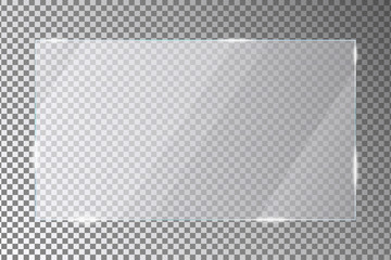 Glass plate on transparent background. Acrylic or plexiglass plates with gleams and light reflections in rectangle shape. Vector illustration.