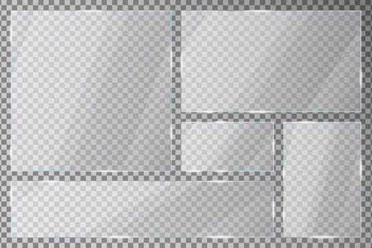 Glass plates set on transparent background. Acrylic or plexiglass plates with gleams and light reflections in rectangle and square shapes. Vector illustration.