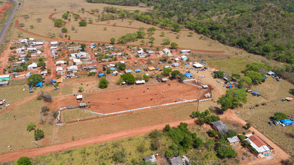 Aerial view to rodeo grounds and subsequent residential area in Bom Jardim, Mato Grosso, Brazil