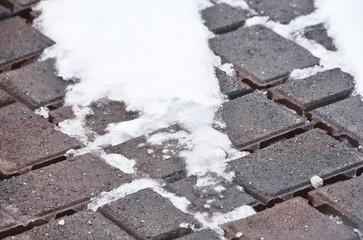 Snow on Brick Pavers