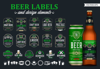 Vector beer labels, badges, icons and design elements