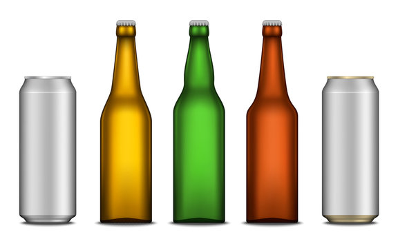 Vector realistic beer blank bottle and can mockups