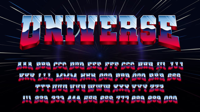 Retro futuristic latin font, letters and numbers with 80s metallic and shiny effect, Sci-Fi alphabet vector vintage metal, color gradient in vintage space style