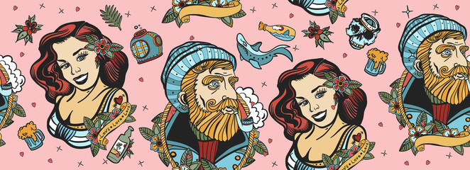 Sea adventure seamless pattern. Old captain and sailor girl. Traditional tattooing art, old school style. Nautical background