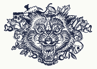 Wolf head. Tattoo and t-shirt design. Halloween elements. Dark fairy tale art. Gothic animals