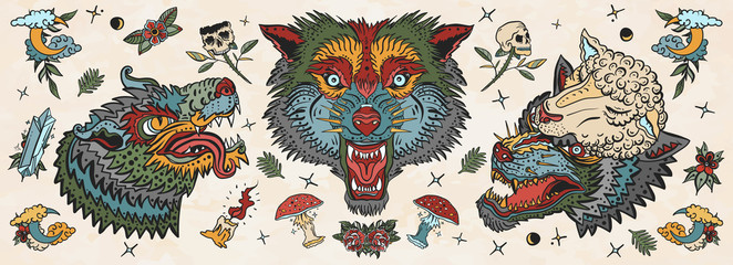 Wolf head. Old school tattoo collection. Werewolf in sheep clothing. Aggressive wolves traditional tattooing style