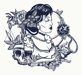 Retro woman portrait. Noir film lady. Old school tattoo and t-shirt design. Criminal girl with guns. Mafia concept. Traditional tattooing style