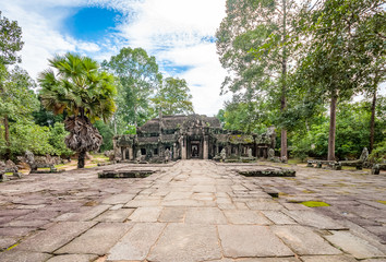 Ancient buddhist khmer temple in Angkor Wat, Cambodia. Banteay Kdei Prasat