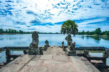Ancient buddhist khmer temple in Angkor Wat, Cambodia. Srah Srang