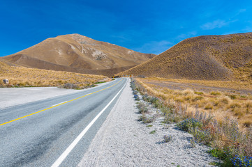 Road to Somewhere. A New Zealand road disappearing into the distance South Island mountain range