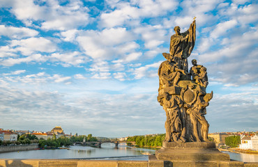 Baroque Statues on the Prague Charles Bridge on a sunny day
