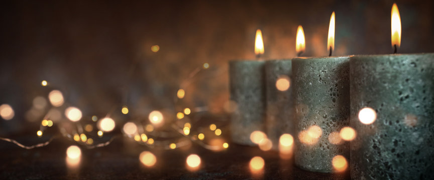 Candles with festive lights