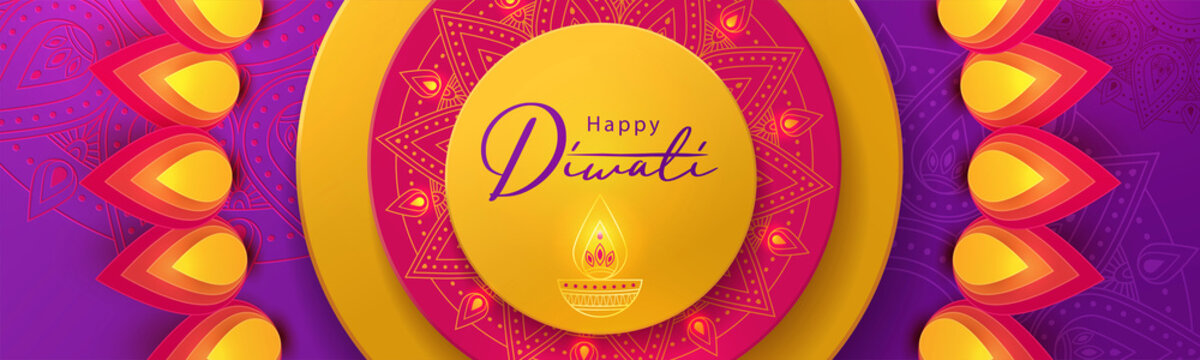Diwali festival greeting design in paper cut style with beautiful bright lights, oil lamp (Diya) and flowers of lights. Holiday background for branding, greeting card, banner, cover, flyer or poster