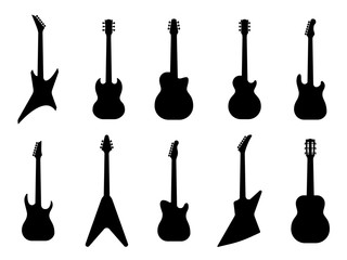 Guitar silhouettes. Acoustic and heavy rock electric guitars outline musical instruments, music symbols Vector isolated set