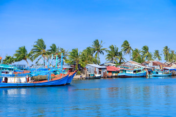 Landscape of small village in seashore Phu Quoc, Kien Giang, Vietnam. Royalty high quality free stock image of sea landscape. Phu Quoc island is a popular tourist destination.