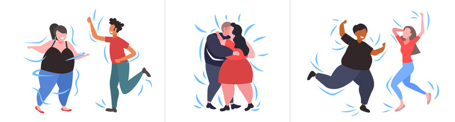 set fat obese people in different poses overweight mix race male female characters collection obesity weight loss concept flat full length horizontal