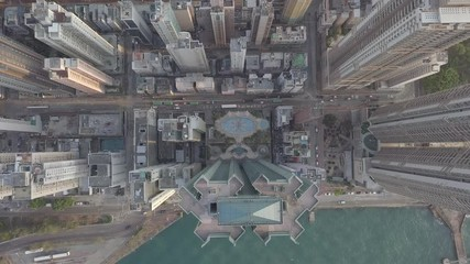 Fotomurales - High density housing of Hong Kong from drone view