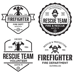 Set of firefighter volunteer, rescue team emblems, labels, badges and logos in monochrome style.