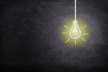 Business Idea Concept : White light bulb lighting grow around on chalkboard.