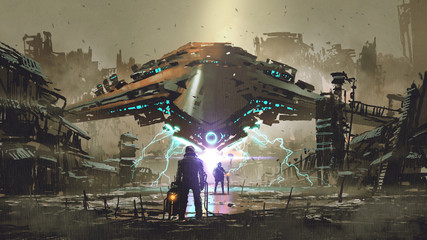 Zelfklevend Fotobehang Grandfailure the encounter between two futuristic humans with the spaceship in the background against an abandoned earth, digital art style, illustration painting