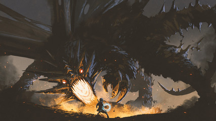 Aluminium Prints Grandfailure fantasy scene showing the girl fighting the fire dragon, digital art style, illustration painting