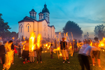 "Loznica, Serbia - July 11, 2019: LilaLo Festival is a music and performance festival, dedicated to the regional folk authentic tradition as ""lilanje"" as well creative potentials of young people."