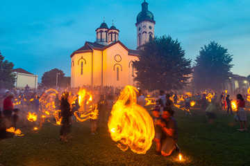 """Loznica, Serbia - July 11, 2019: LilaLo Festival is a music and performance festival, dedicated to the regional folk authentic tradition as """"lilanje"""" as well creative potentials of young people."""