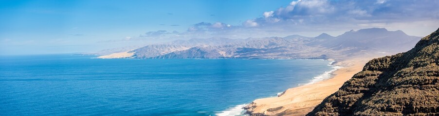 Panoramic view of the Fuerteventura coastline. Taken from the hills of Jandia