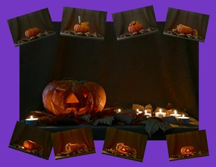 Greeting card with a picture of a pumpkin lamp for Halloween.