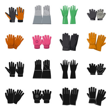 Vector design of glove and winter logo. Set of glove and equipment vector icon for stock.