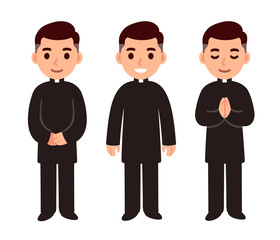 Cartoon catholic priest set
