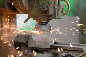 Metalworking industry: high speed metal milling and turning  with flying sparks