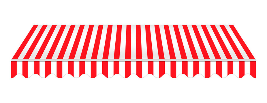 Striped red awning isolated on white background, realistic vector mockup. Canopy for restaurant, cafe, hotel or store. Tent roof, template for design