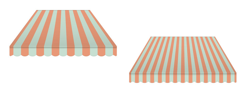 Striped vintage awning canopy, vector illustration. Window sunshade isolated on white background. Tent roof with wave edge, template for design