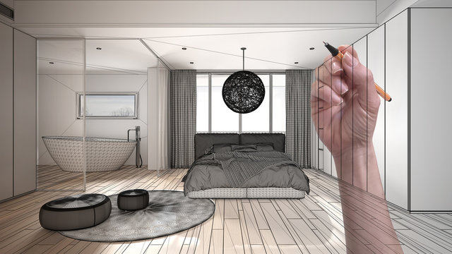 Architect interior designer concept: hand drawing a design interior project while the space becomes real, modern white and wooden bedroom with bathtub, double bed, bathtub and carpet